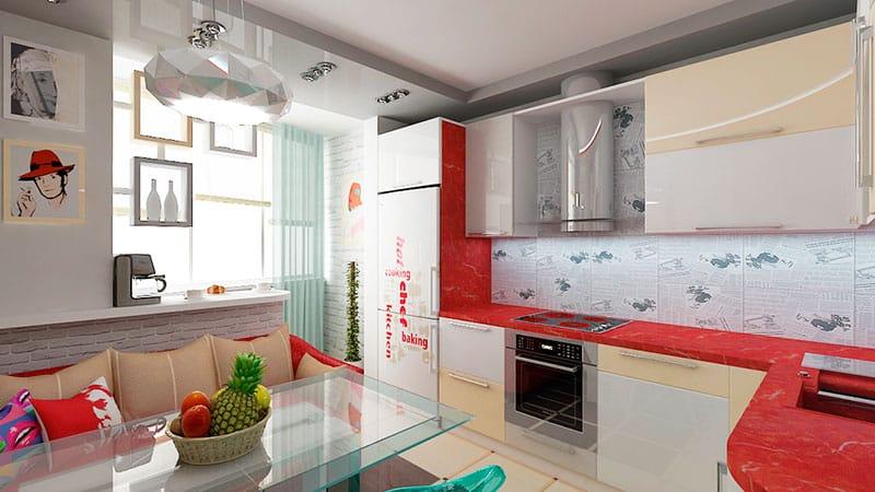 Дизайн кухни, совмещенной с балконом
