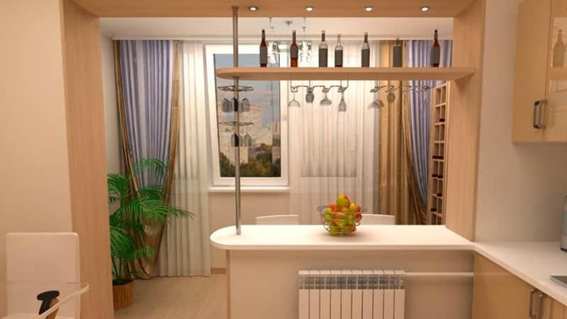 Дизайн кухни с балконом - барная стойка