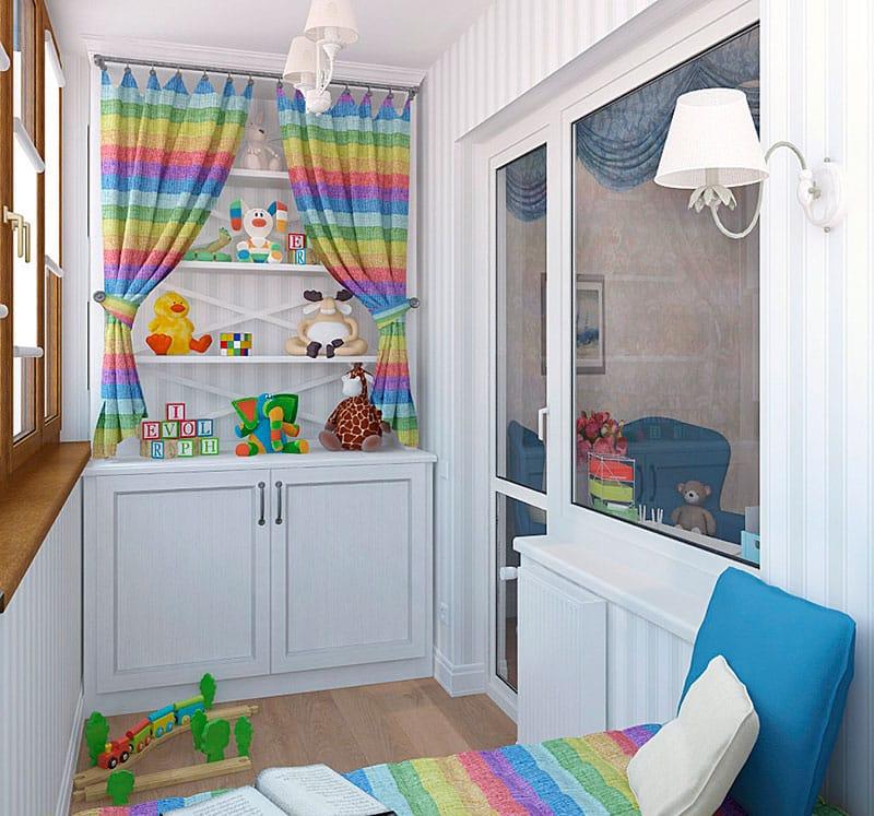 Дизайн детской на балконе