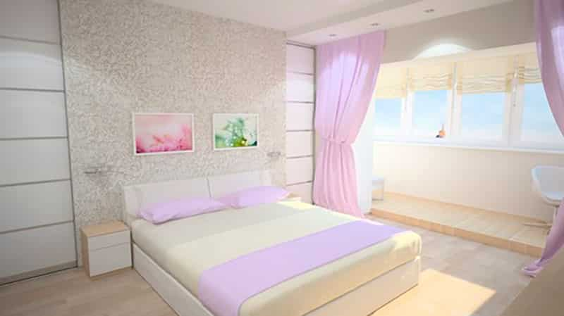 Дизайн интерьера комнаты с балконом