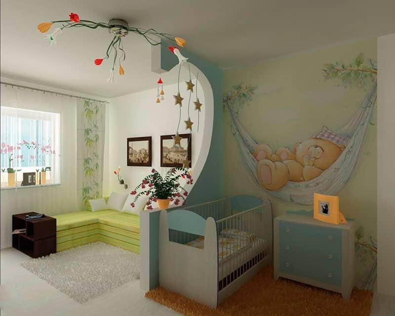 Дизайн спальной комнаты с детской