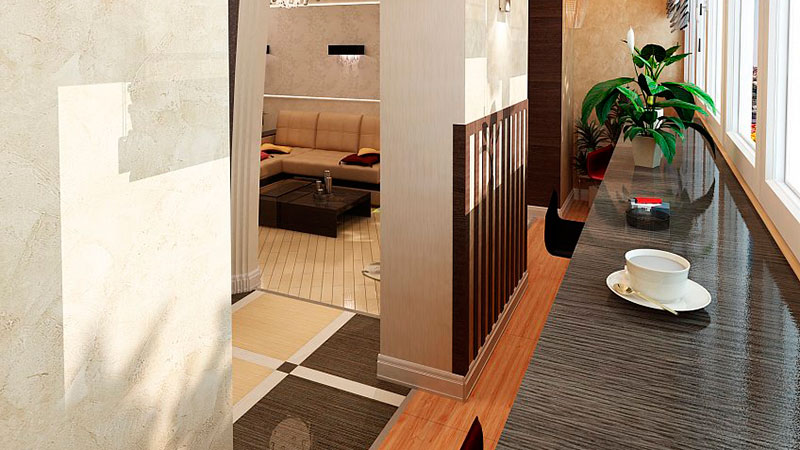 Дизайн балкона, совмещенного с комнатой