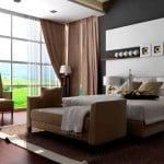 Спальня с французским окном
