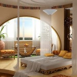 Дизайн спальни, сомещенной с балконом