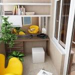 Из балкона кабинет в современном стиле