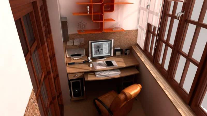 Обустраиваем рабочий кабинет на балконе: фото идеи.