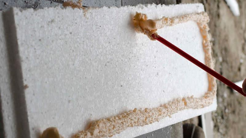 Крепление пенопласта к стене на клей