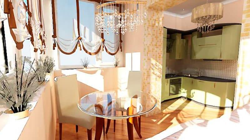 Оформление кухни на балконе