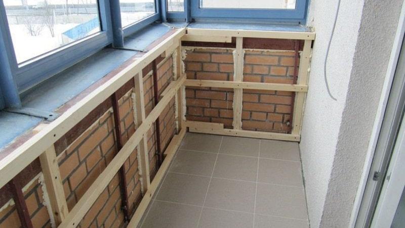 Обшивка вагонкой балкона - изготовление каркаса