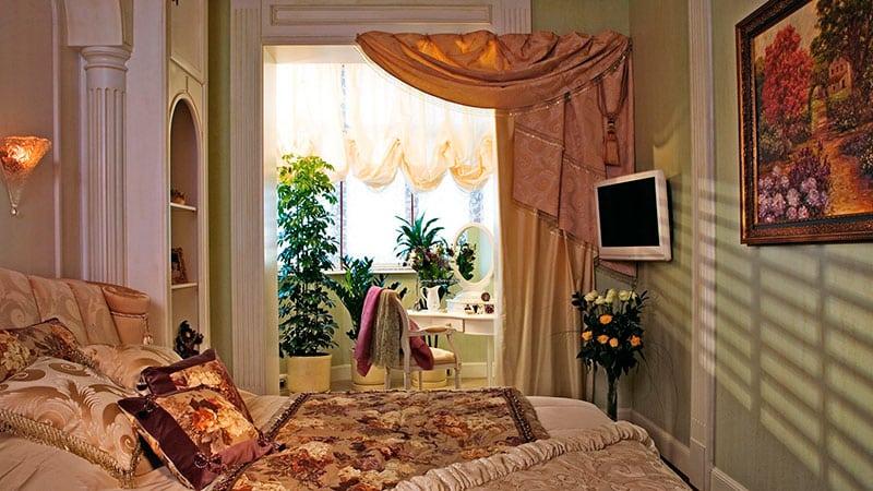 дизайн комнаты с присоединенной лоджией