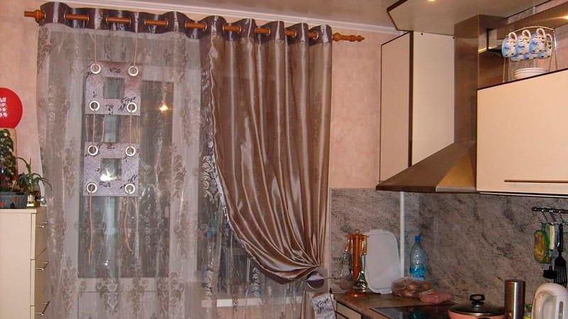 Дизайн кухни занавески фото