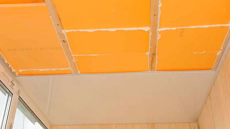 Утепление потолка на балконе с помощью пеноплекса