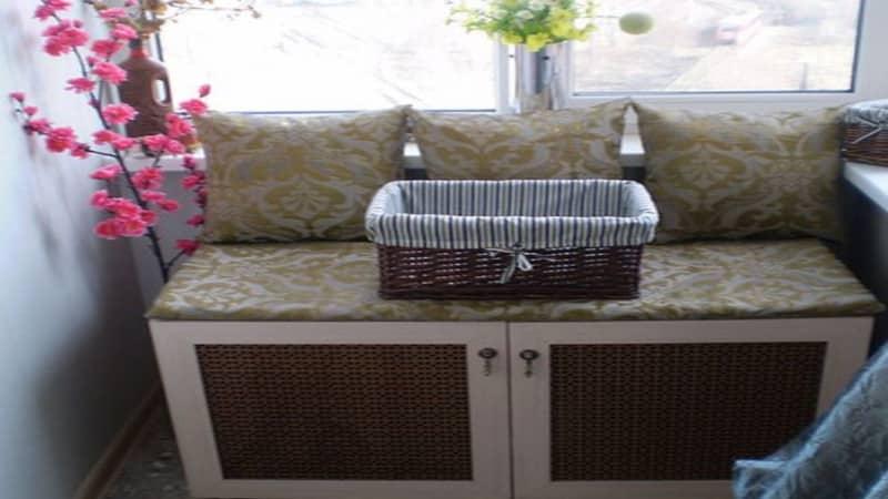 Скамья с ящиком на балкон своими руками 453