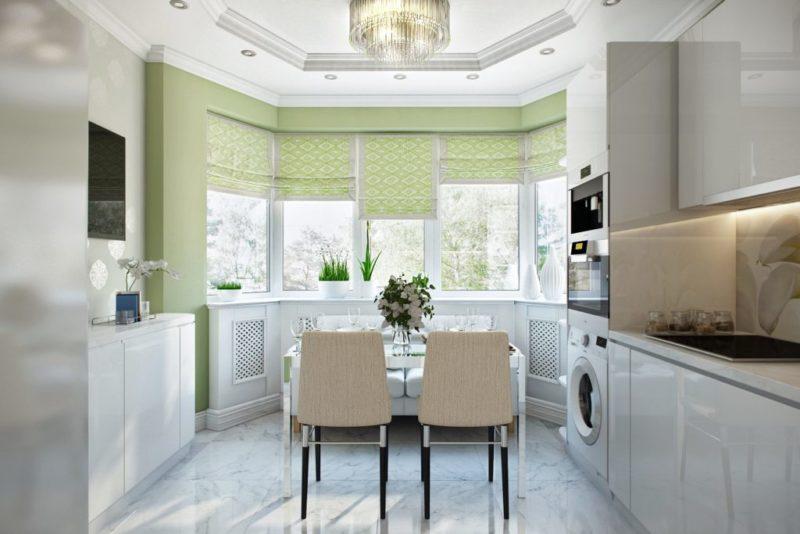 шторы на кухню на эркер фото
