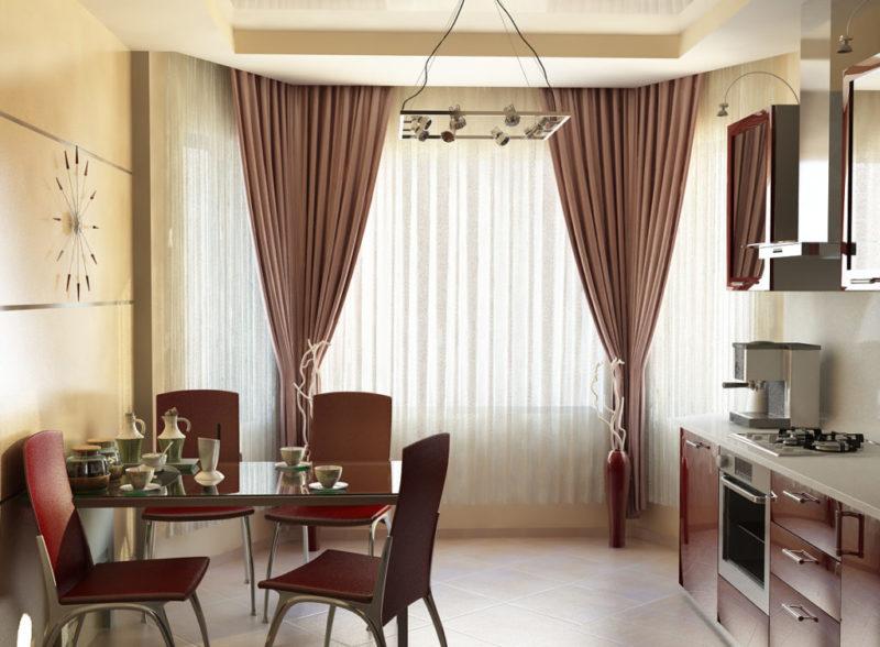 фото шторы на кухню с эркером