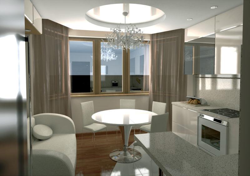 шторы на эркер на кухню