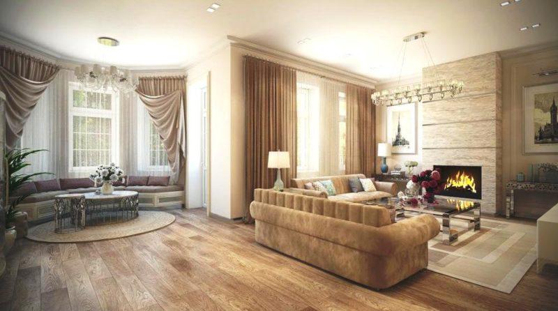 гостиная с эркером и камином интерьер