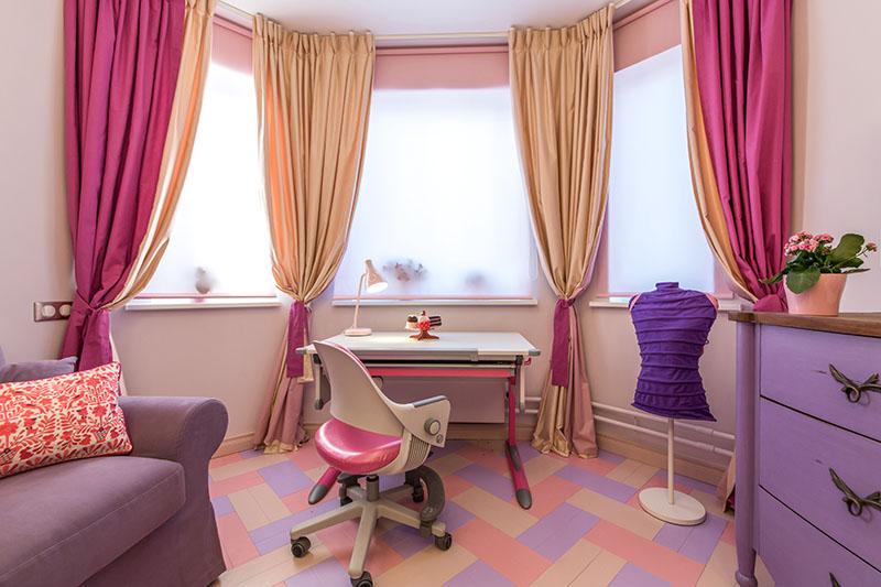 шторы на эркер из трех окон фото