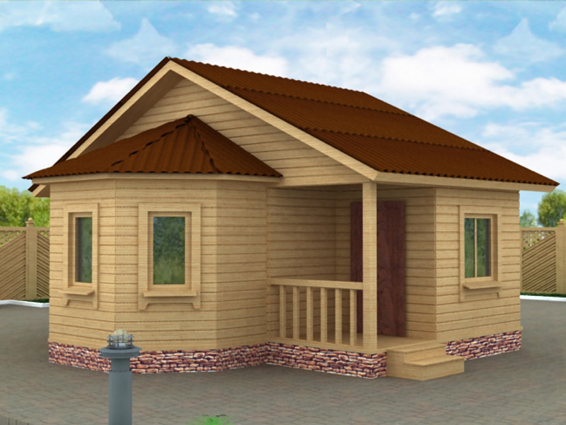 проекты домов с бруса с эркером