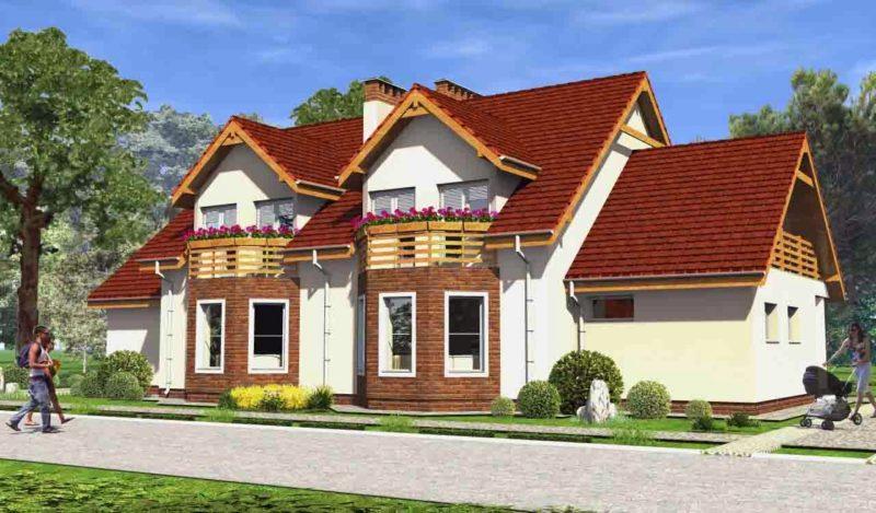 проекты домов с террасой и эркером