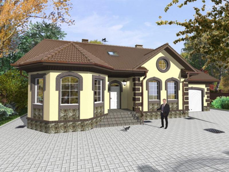 дом с террасой и эркером
