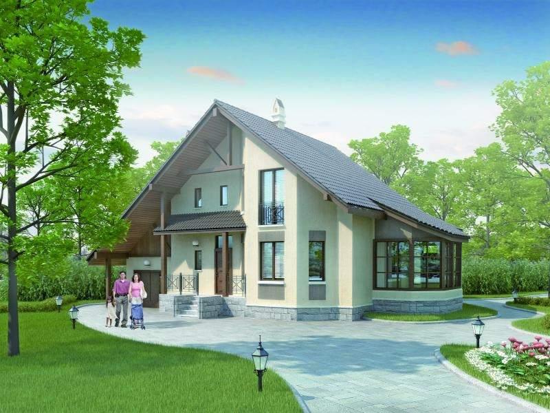 одноэтажные дома с мансардой и эркером проекты