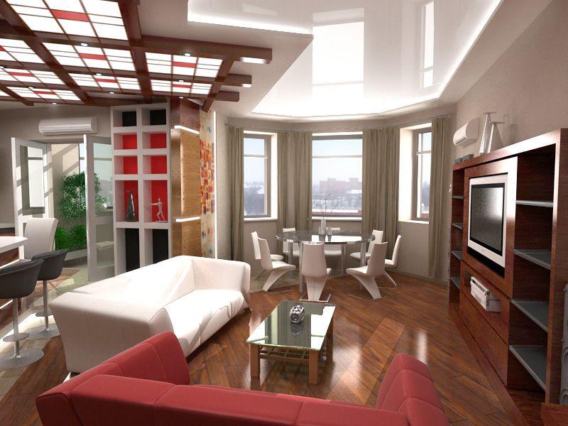 дизайн кухни с гостиной с эркером