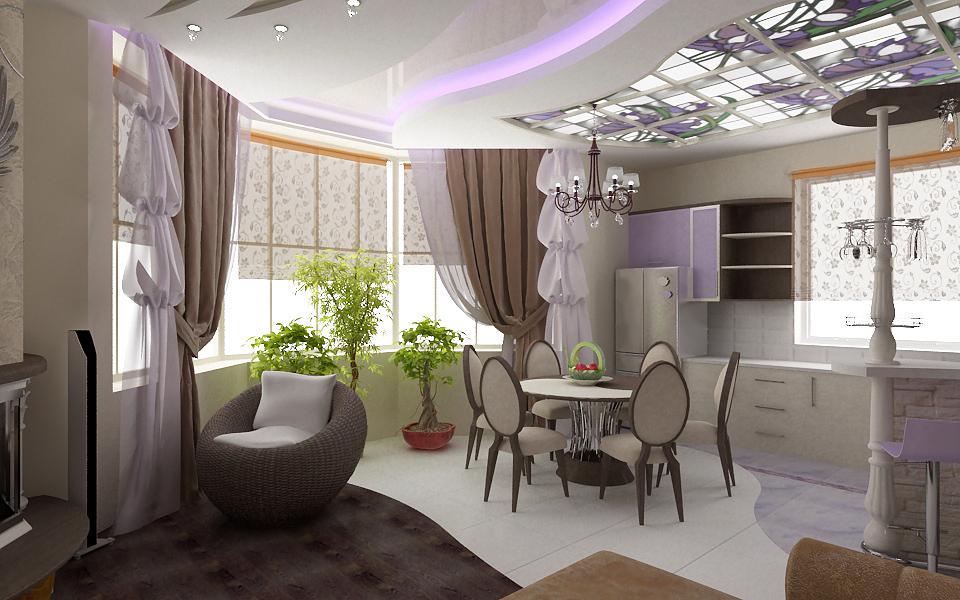 гостиная с кухней с эркером