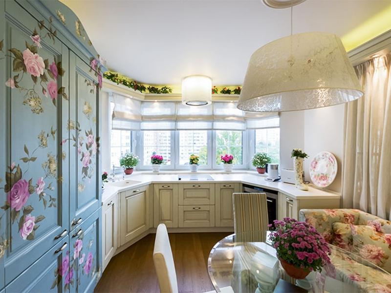 как оформить эркер на кухне