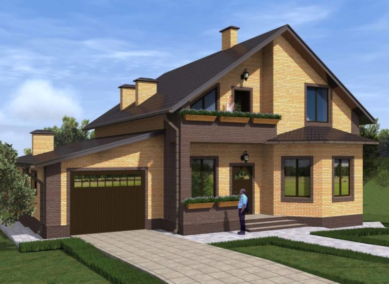проекты домов с гаражом и с эркером