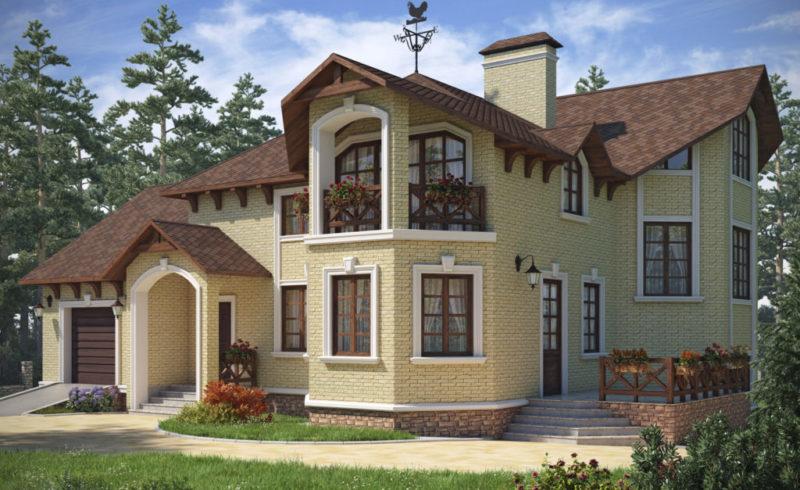 дом с эркером и с гаражом