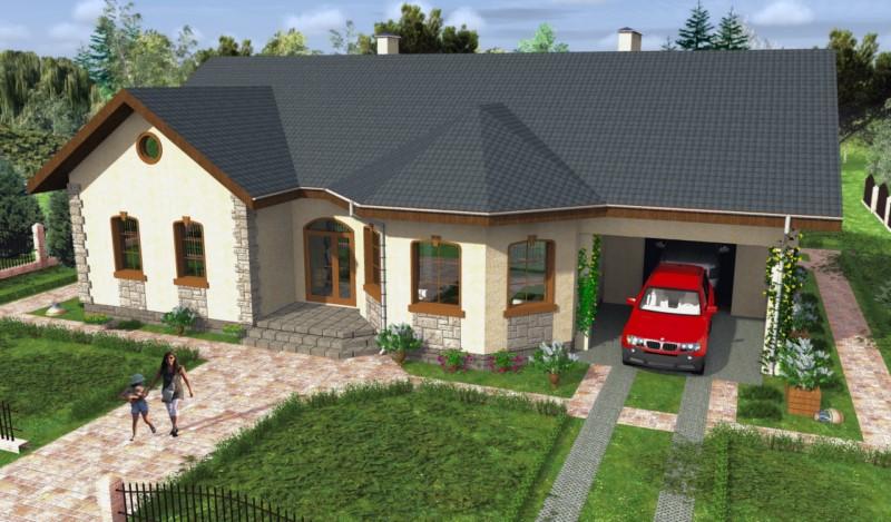 проекты домов с гаражом и эркером фото