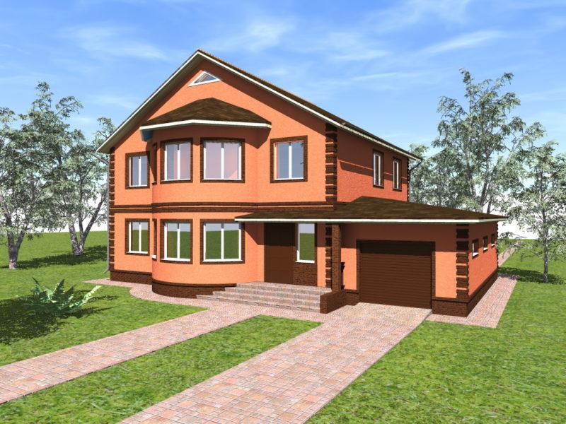 проект двухэтажного дома с гаражом и эркером
